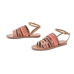 Tory Burch   Mixed Trims Flat Embroidered Sandals